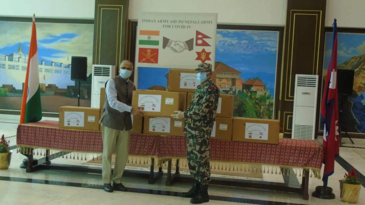 Indian Army hands over medical supplies to Nepali Army